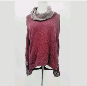 Anthropologie L Bordeaux Cowl Sweater Embroidered